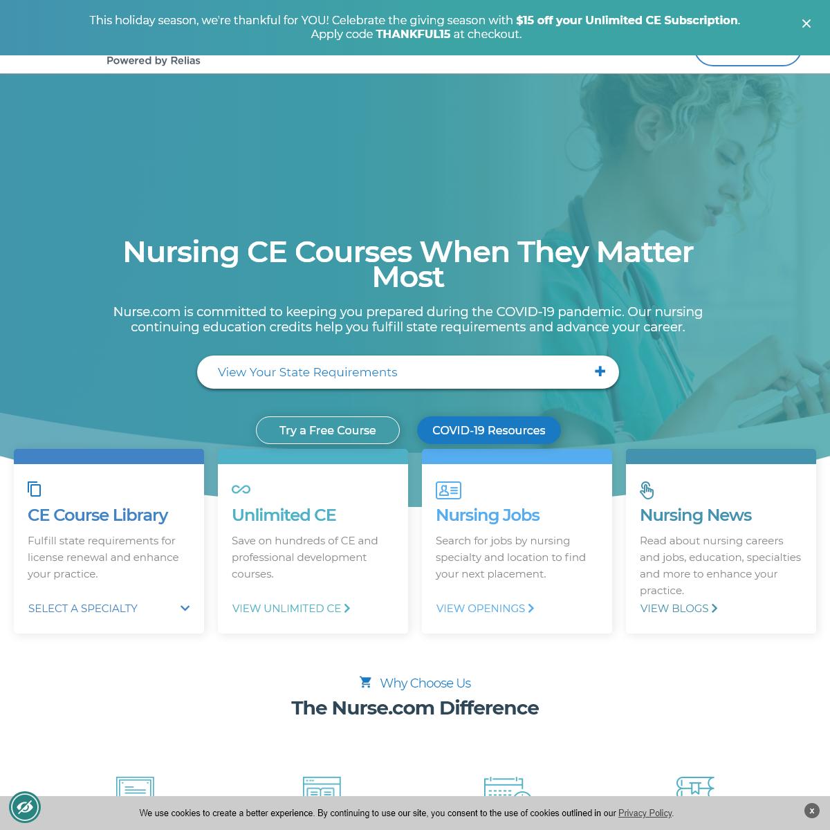 Nurse.com provides continuing education, jobs and news for nurses