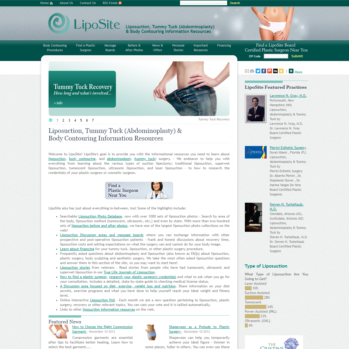 Liposuction, Tummy Tuck (Abdominoplasty) & Body Contouring Information Resources - LipoSite