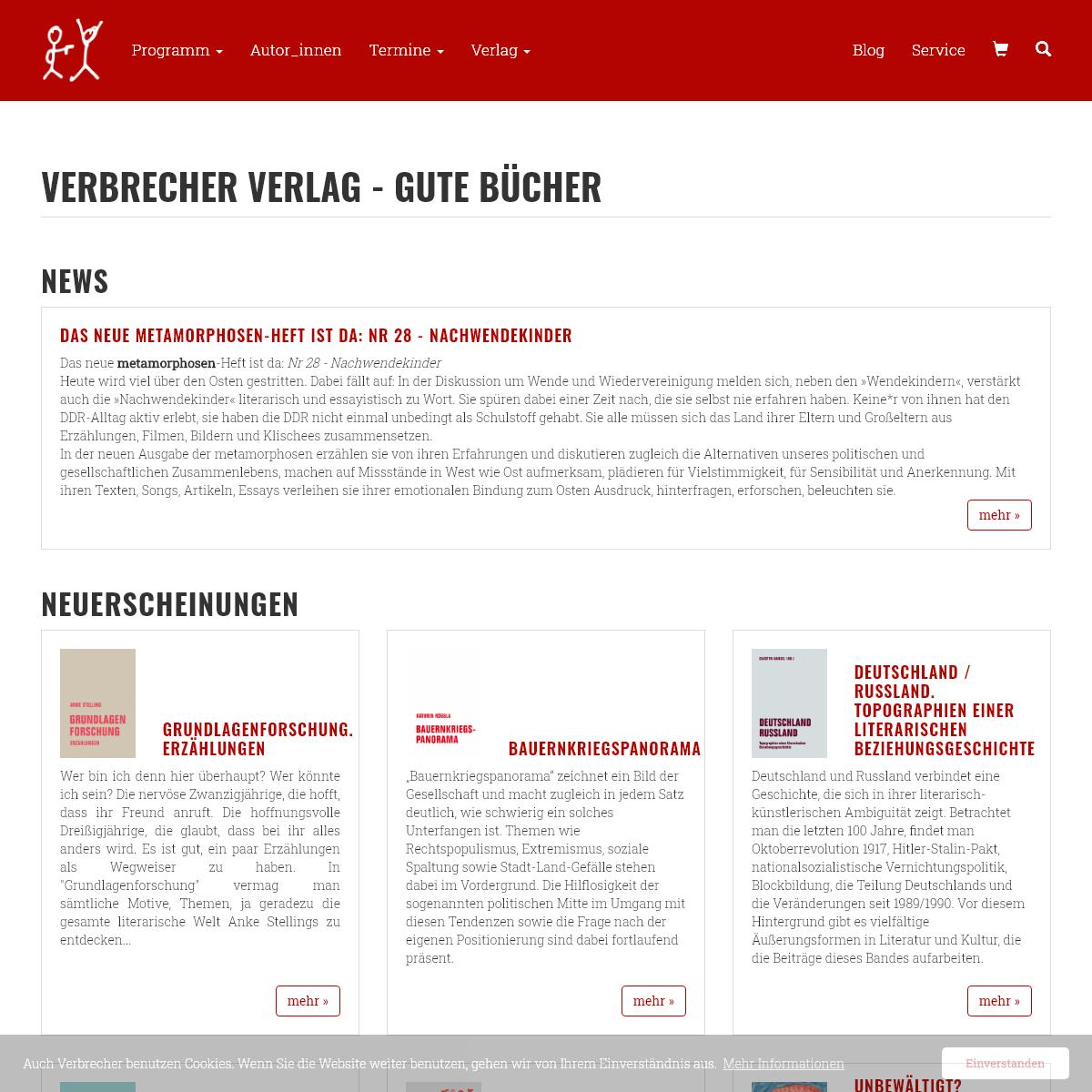 Verbrecher Verlag - gute Bücher