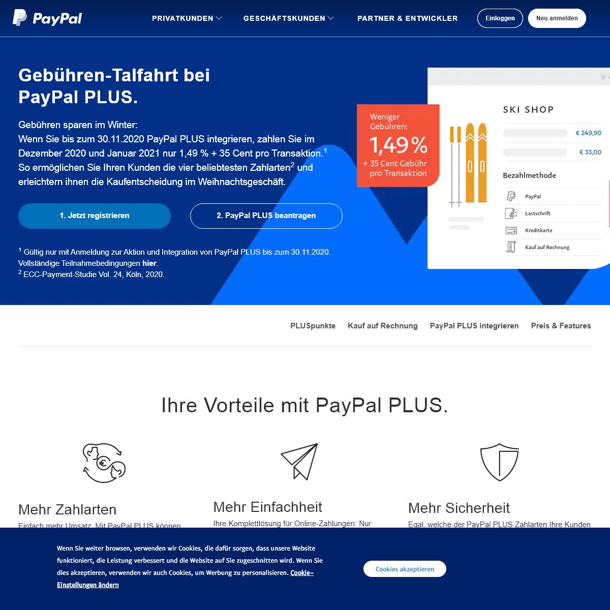 PayPal PLUS - Zahlungsarten - PayPal DE