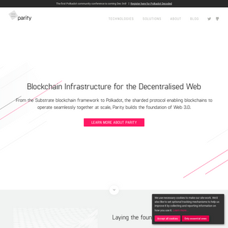 Blockchain Infrastructure for the Decentralised Web - Parity Technologies