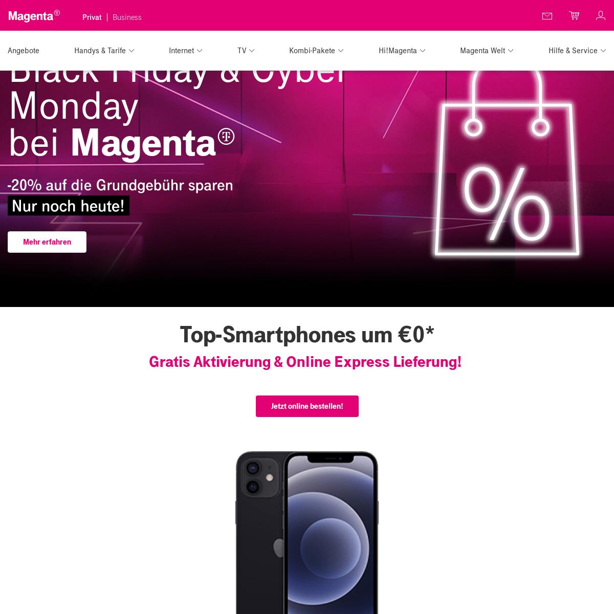 Handy, Festnetz, Internet, TV, Unternehmenslösungen - Magenta