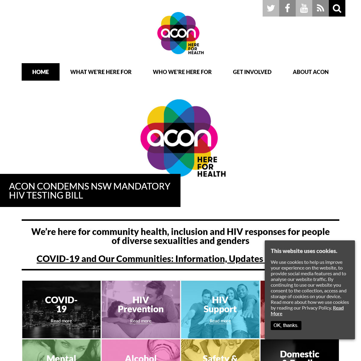 ACON - We are a New South Wales based health promotion organisation specialising in HIV prevention, HIV support and lesbian, gay