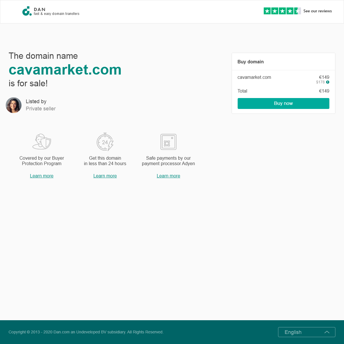 The domain name cavamarket.com is for sale