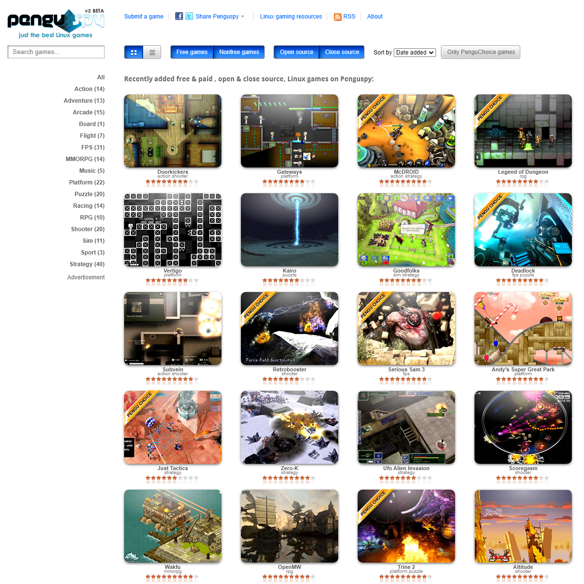 Recently added free & paid , open & close source, Linux games on Penguspy