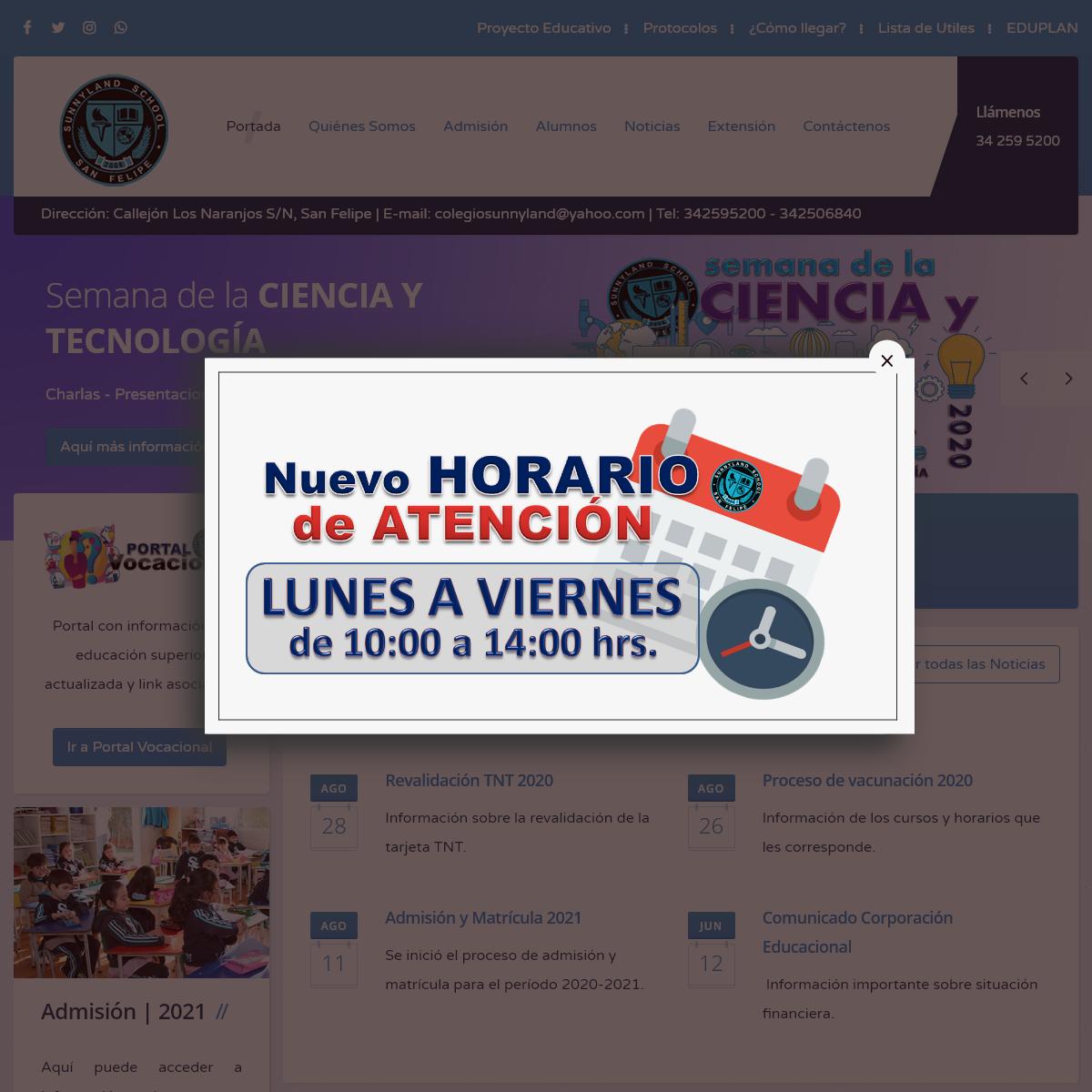 Sunnyland School San Felipe - Educación Parvularia - Educación Básica - Educación Media Humanista-Científica