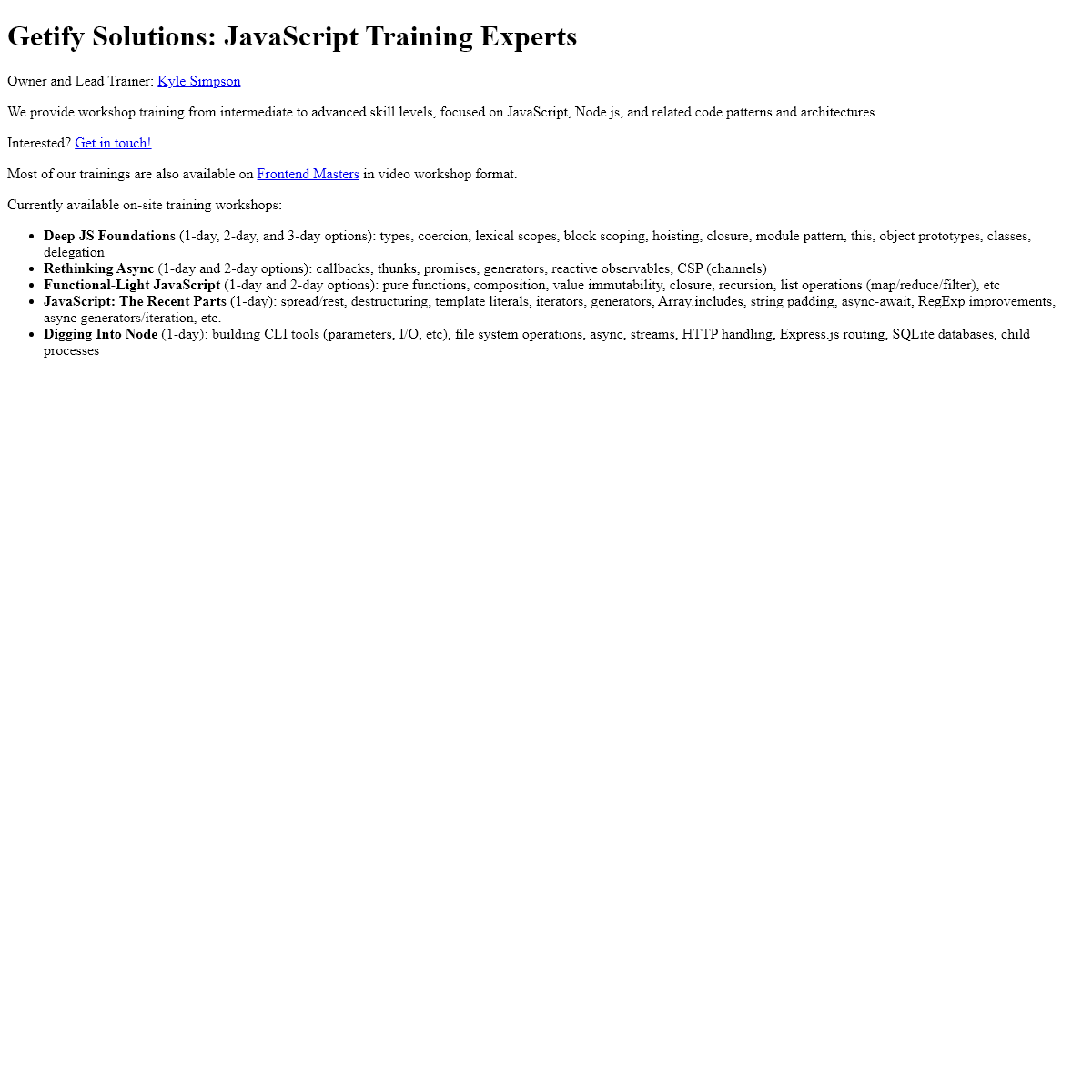 Getify Solutions- JavaScript Training Experts