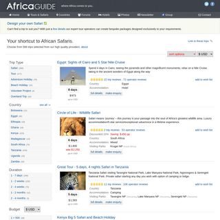 Your shortcut to African Safaris. Choose from 568