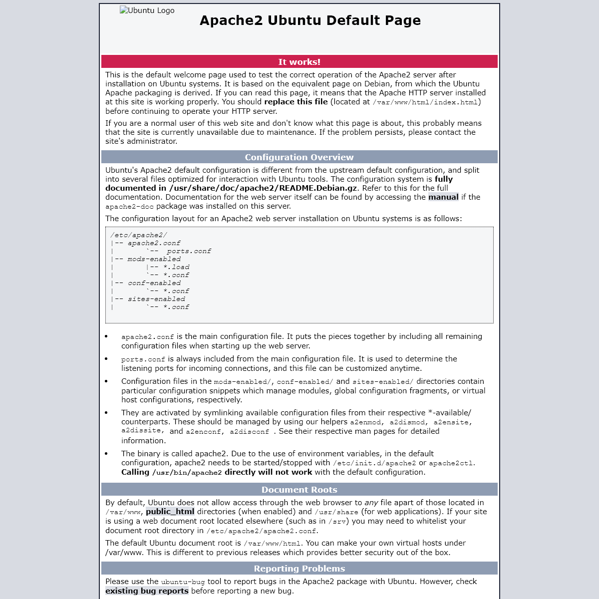 Apache2 Ubuntu Default Page- It works