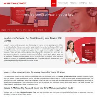 Mcafee.com-activate - McAfee Activation via Product Key