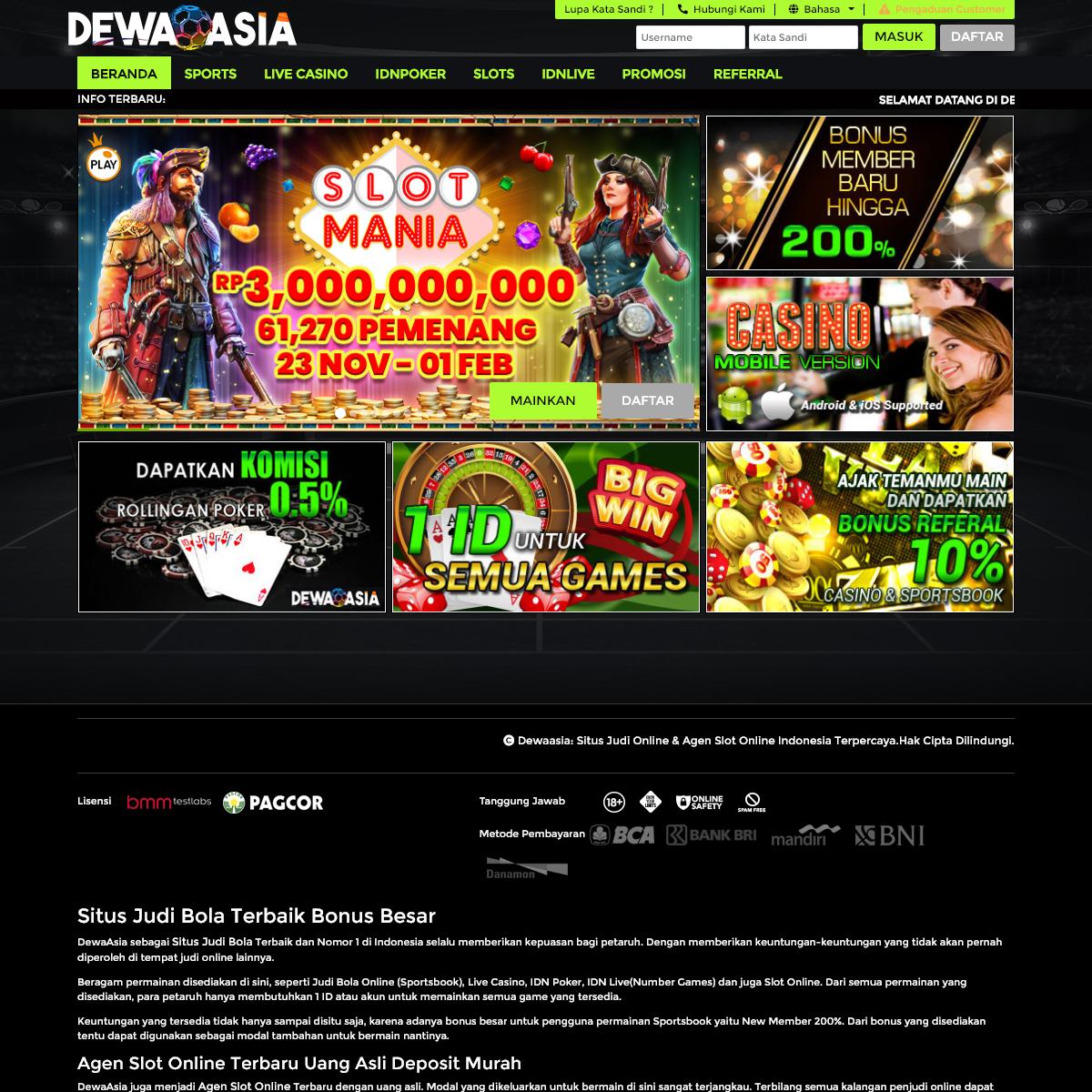 Dewaasia Situs Judi Online Agen Slot Online Indonesia Terpercaya