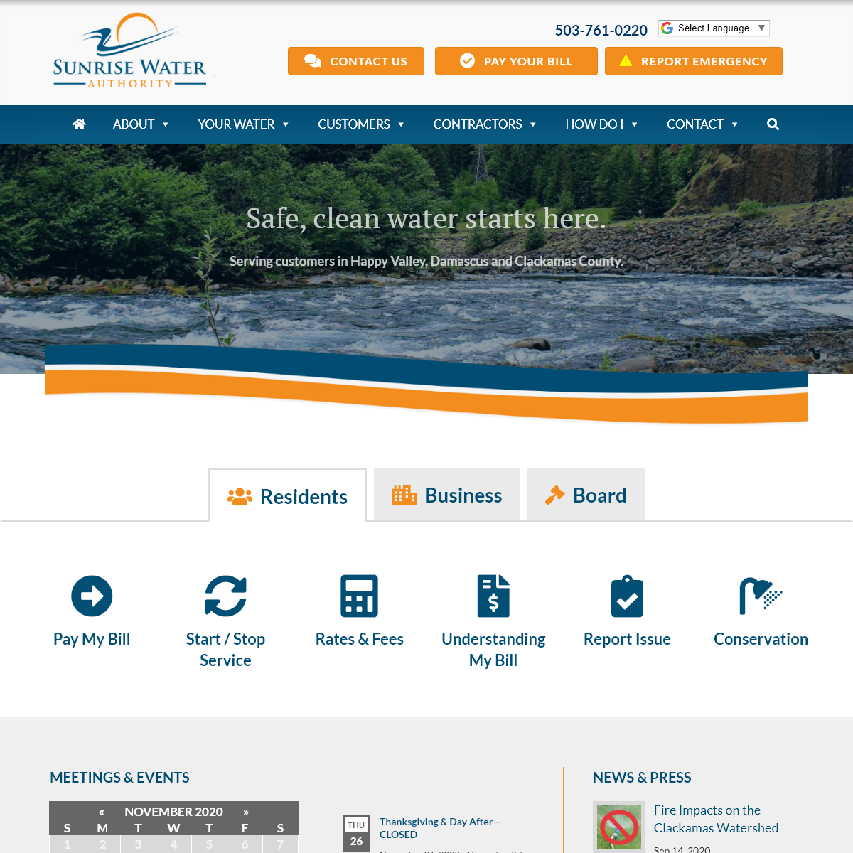 Sunrise Water Authority - Water service to Happy Valley, Damascus, Clackamas County Oregon