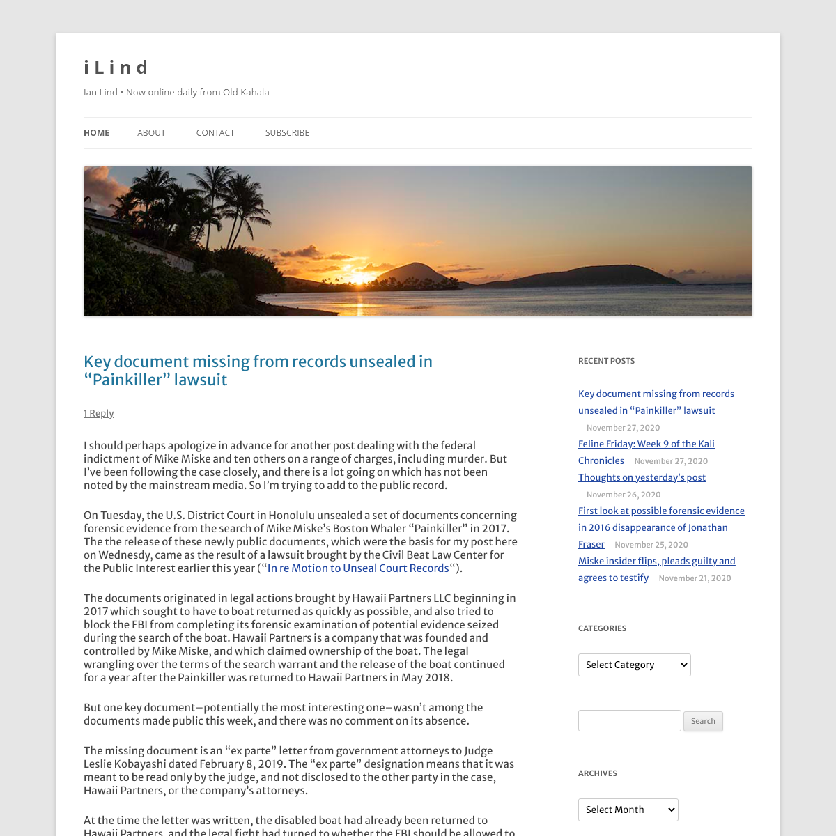 i L i n d - Ian Lind • Now online daily from Old Kahala