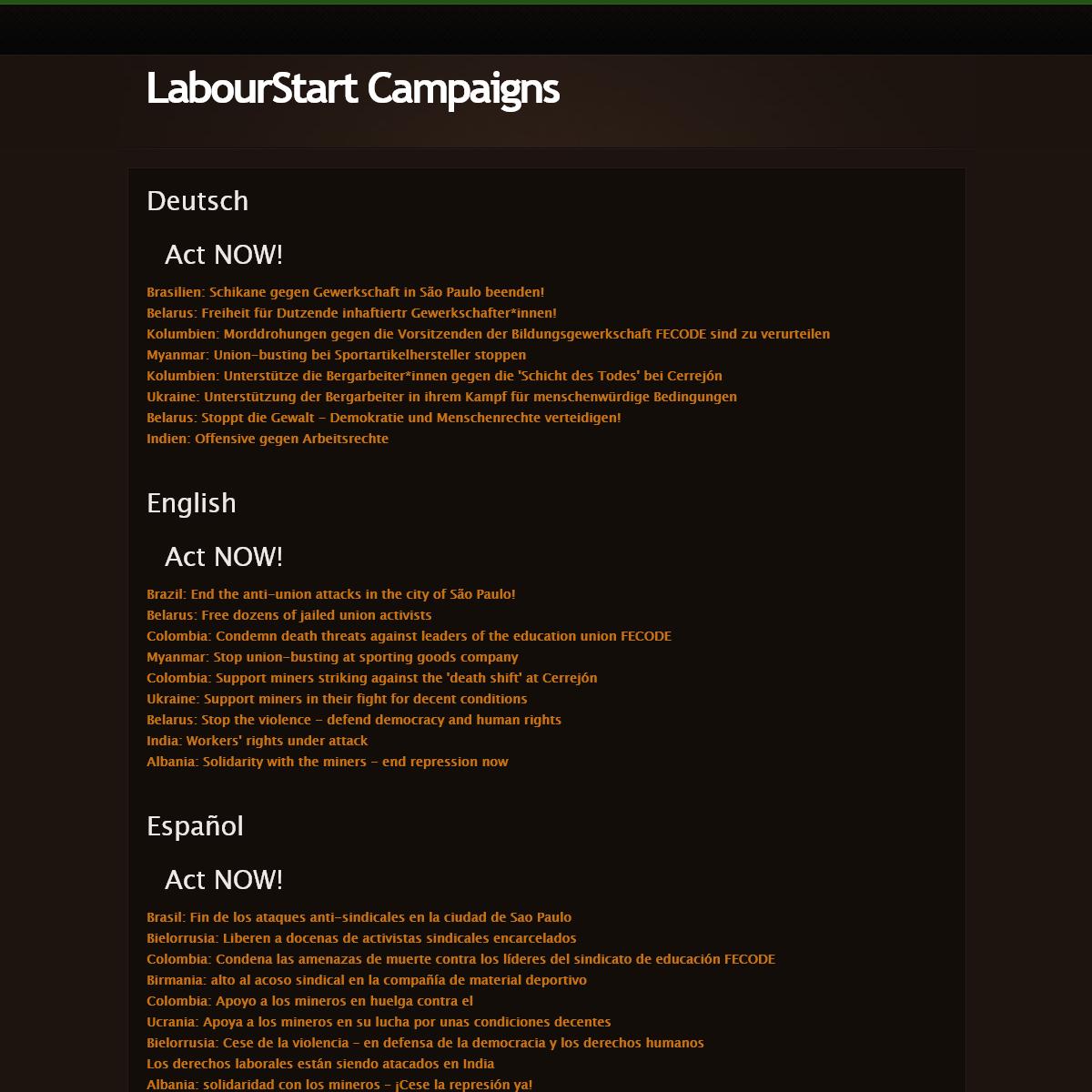 LabourStart Campaigns