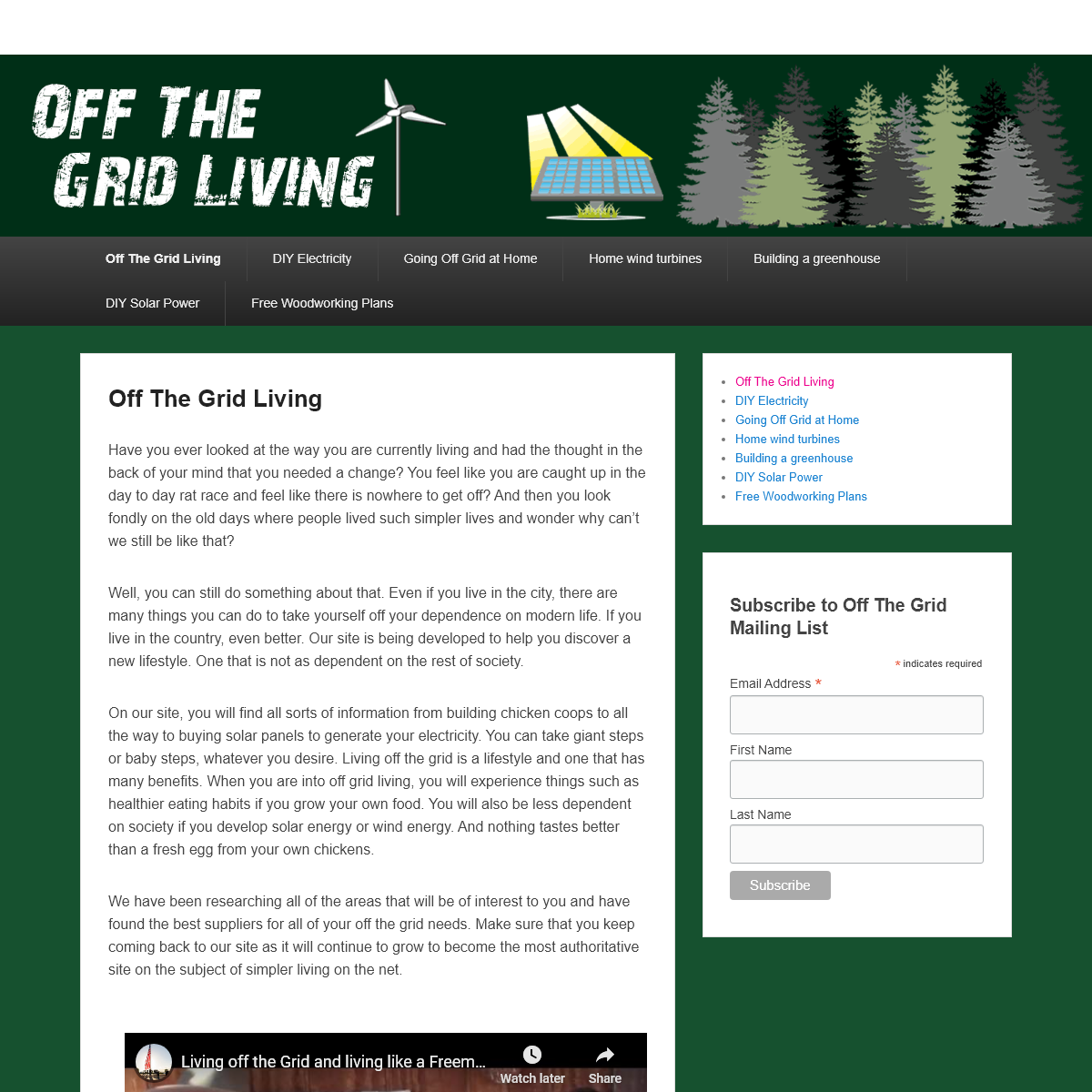 Off The Grid Living - Off The Grid Living