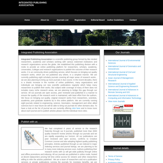 Integrated Publishing Association- Online open access peer reviewed journals publishers