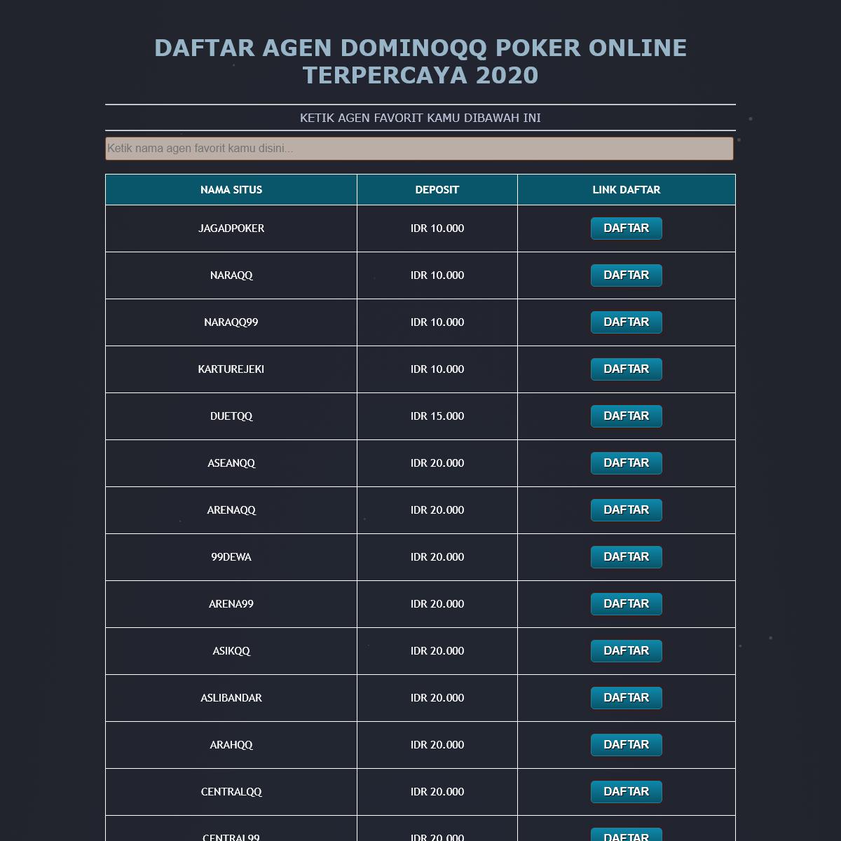 Daftar agen dominoqq poker online terpercaya 2020