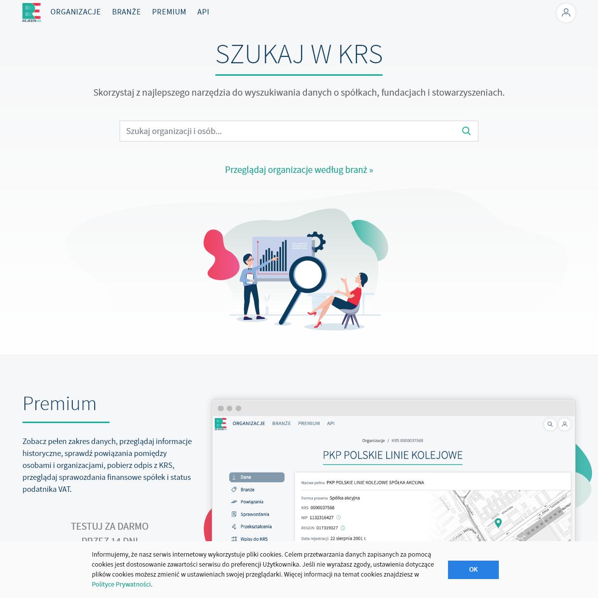 Rejestr.io - Wyszukiwarka danych z KRS