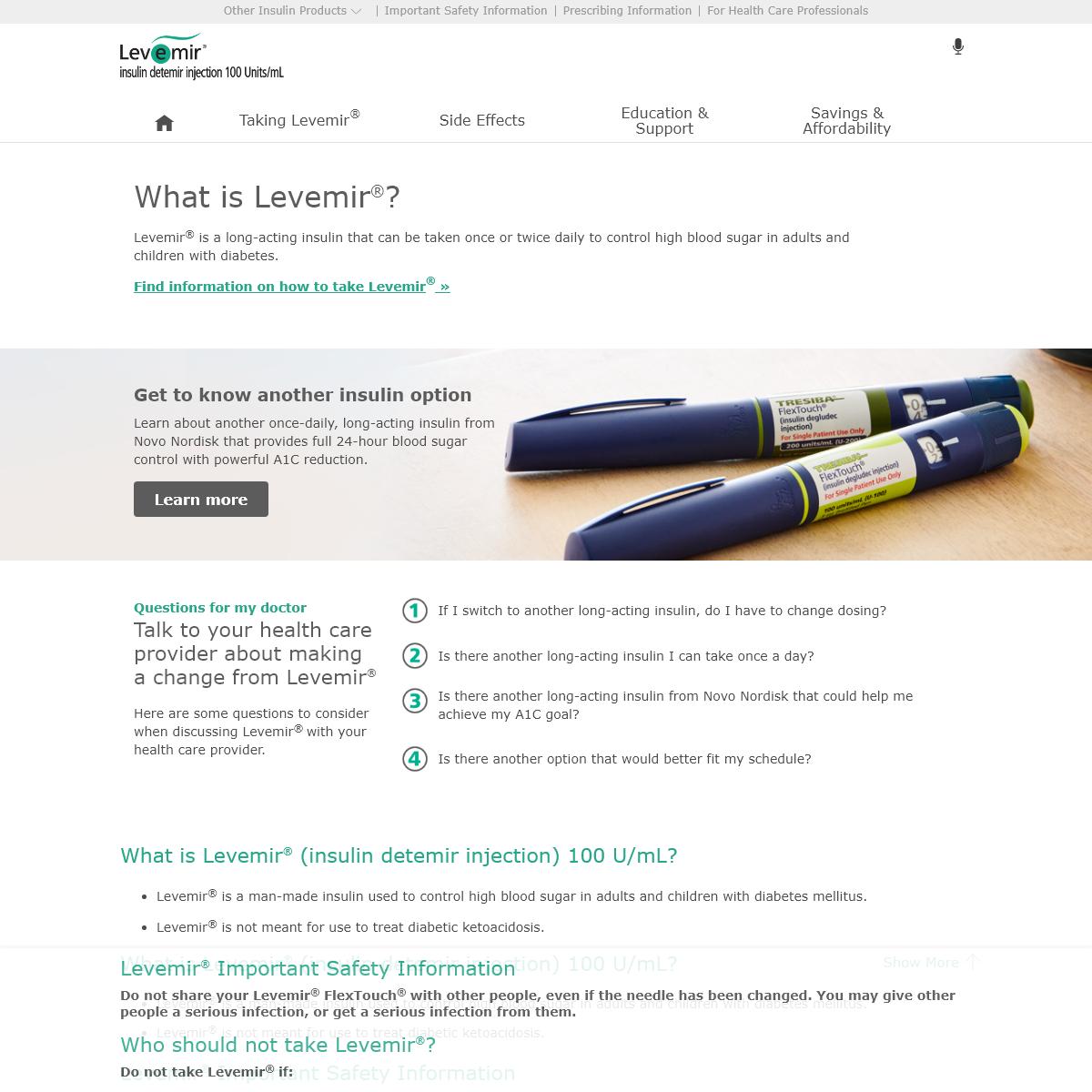 About Levemir® - Levemir® (insulin detemir injection) 100 Units-mL