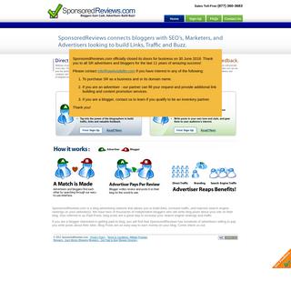 SponsoredReviews.com - Bloggers Earn Cash, Advertisers Build Buzz!