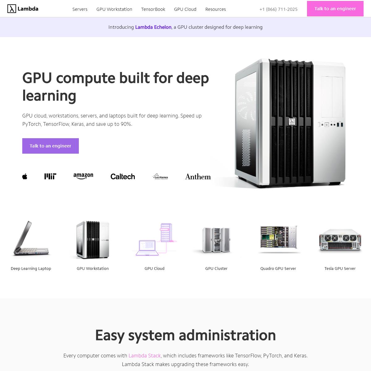 GPU Cloud, Workstations, Servers, Laptops for Deep Learning - Lambda