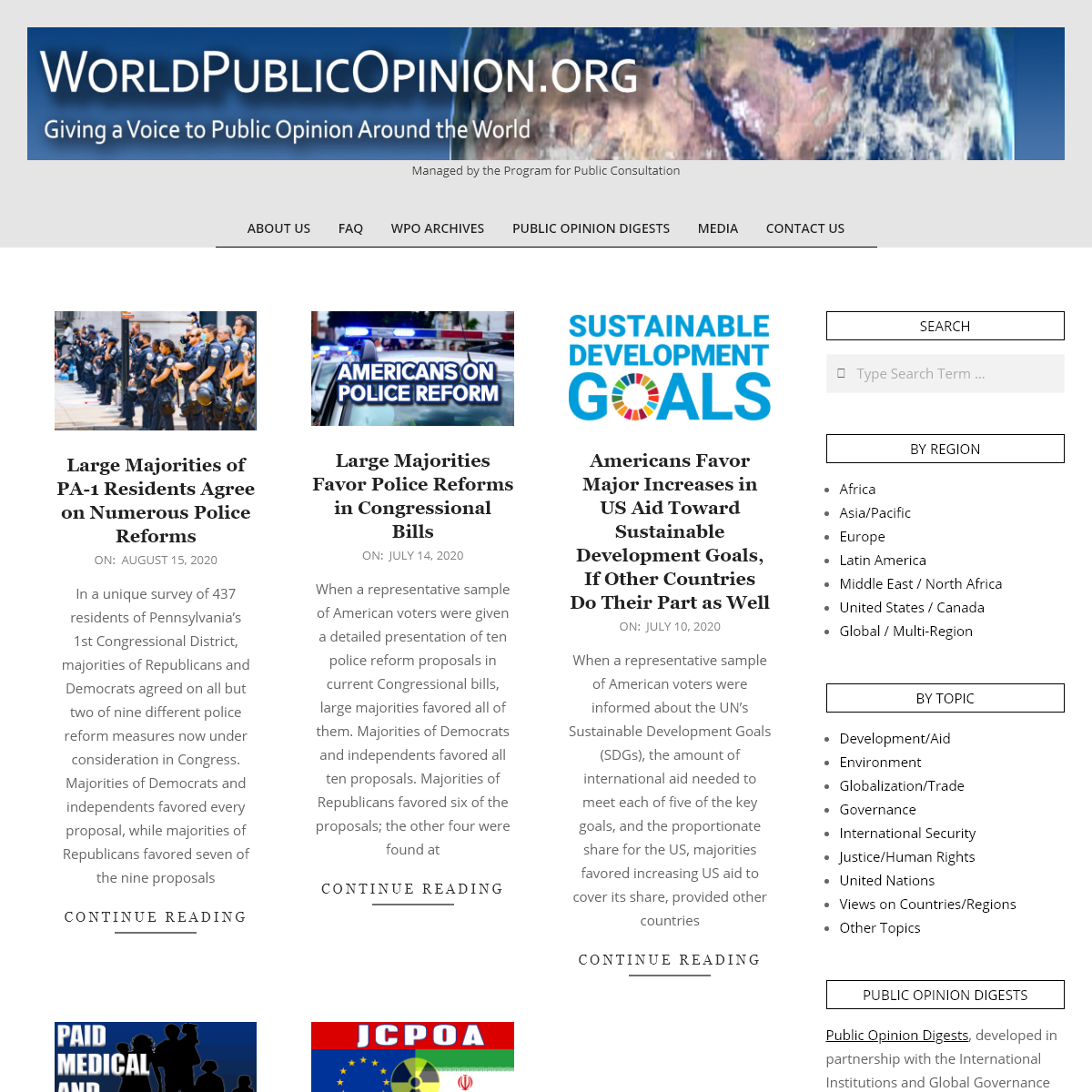 WorldPublicOpinion.org – Managed by the Program for Public Consultation