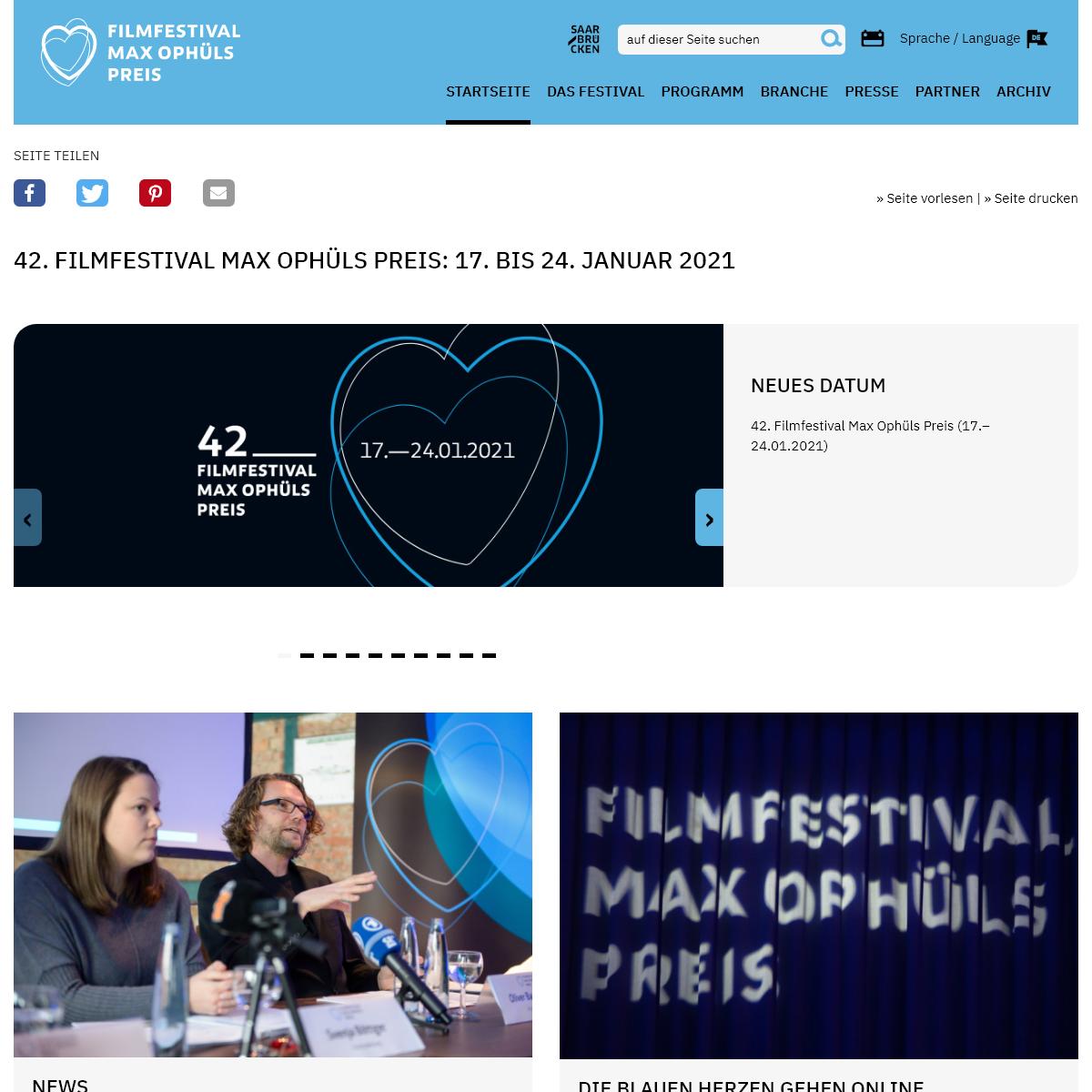 Startseite -Filmfestival Max Ophüls Preis