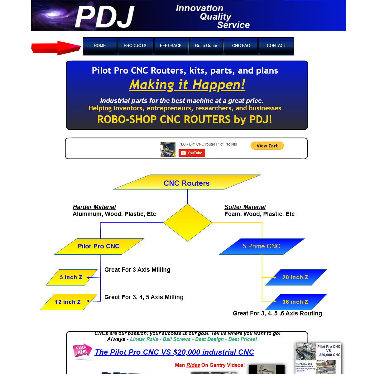 PDJ Pilot Pro CNC router kits, parts, plans, assembled 3D printing prototyping woodworking projects