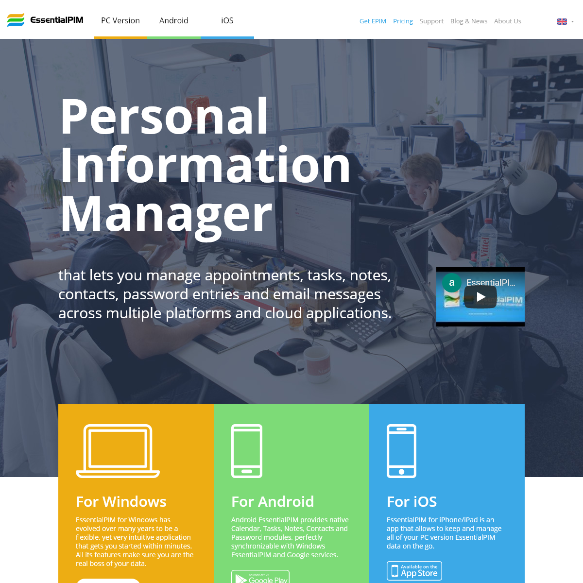 EssentialPIM – Personal Information Manager for Windows, iOS and Android