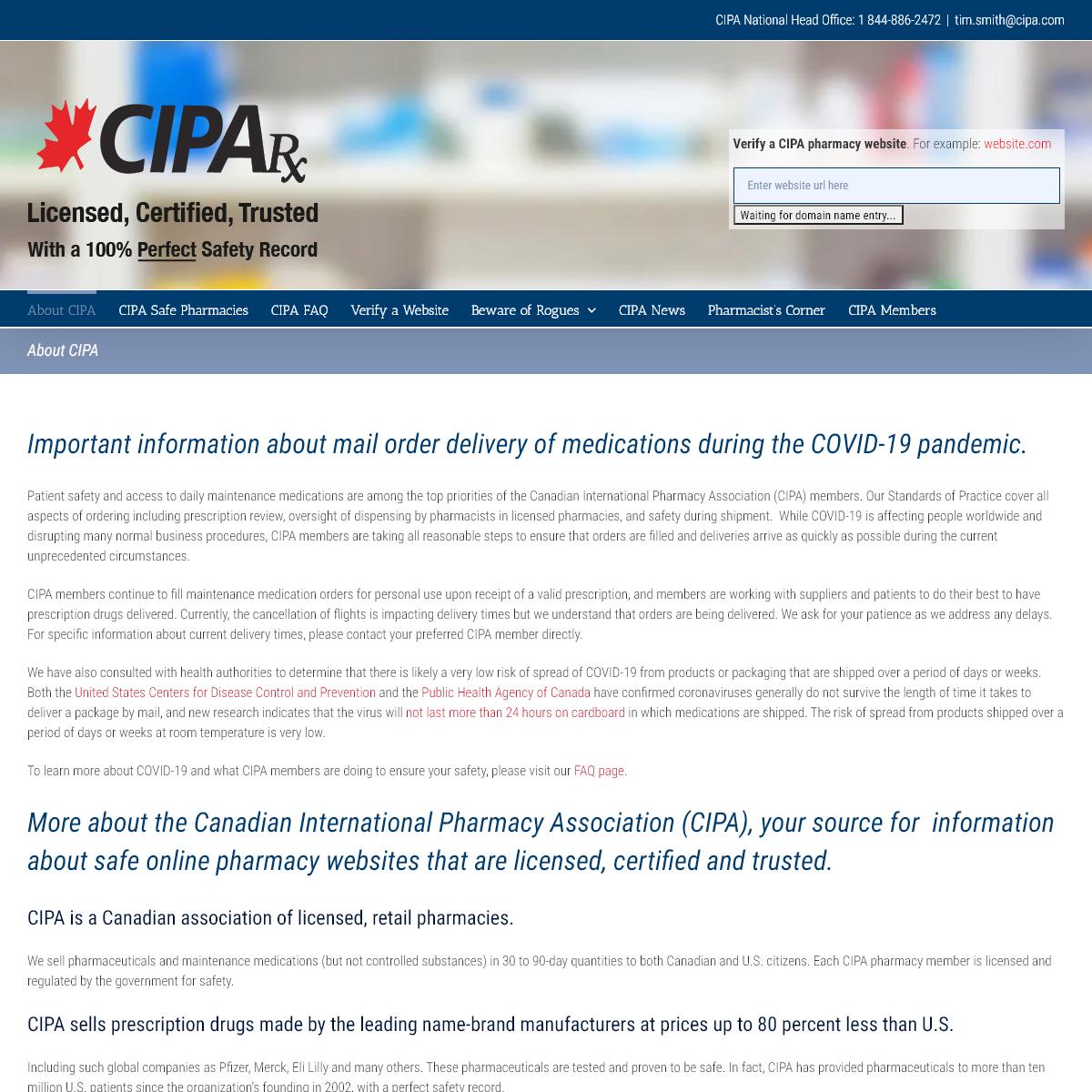 Canadian International Pharmacy Association – Verifying Safe Online Pharmacies Since 2002 – CIPA is a online pharmacy verifi