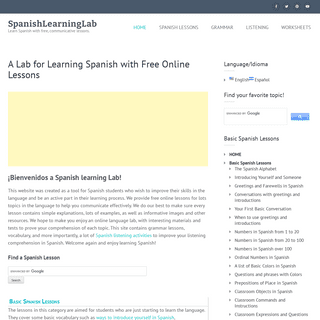 A Lab for Learning Spanish with Free Online Lessons - SpanishLearningLab