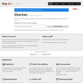 tny.im - Shorten URLs, images, text and email, Bitcoin, Dogecoin and Litecoin addresses