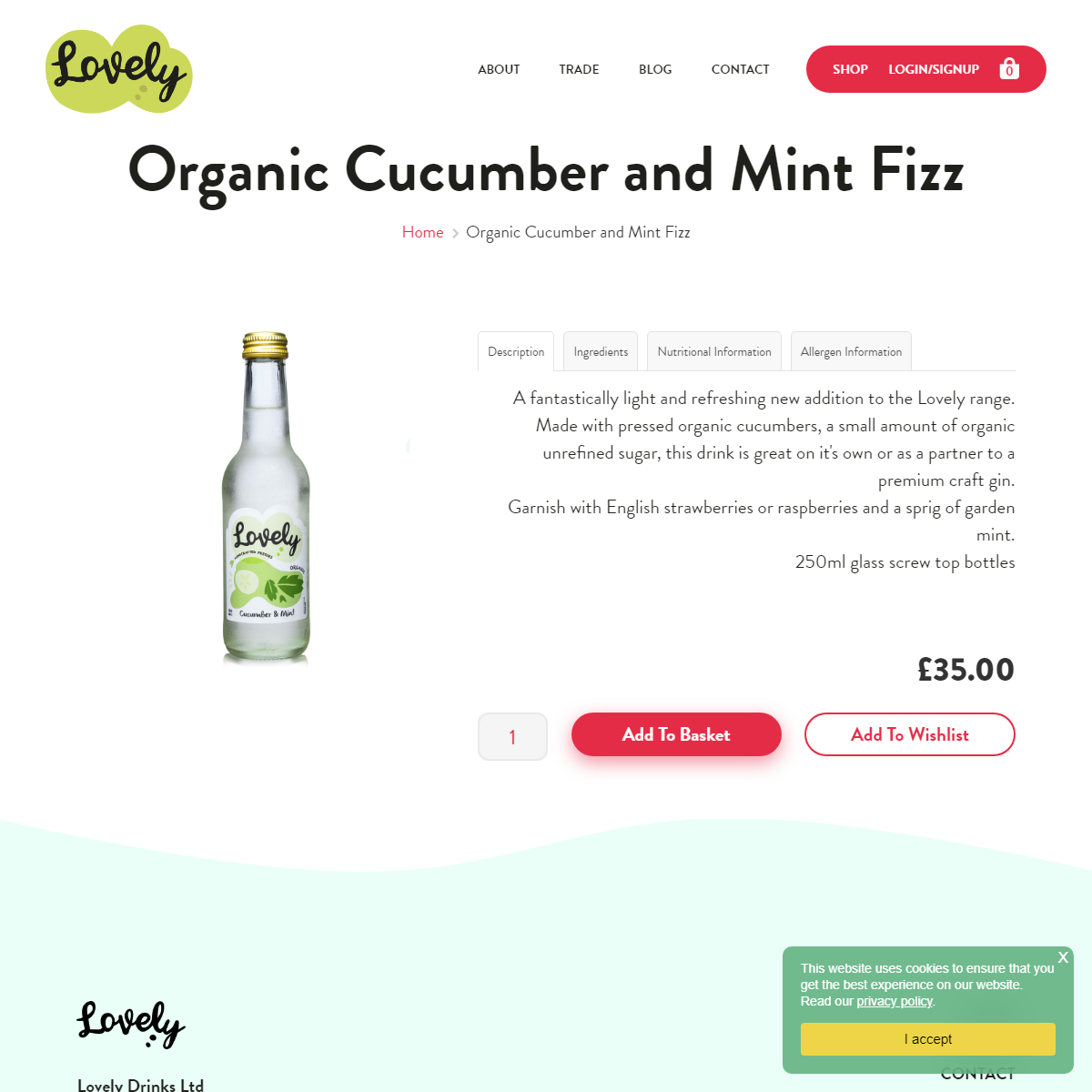 Lovely Drinks Organic Cucumber and Mint