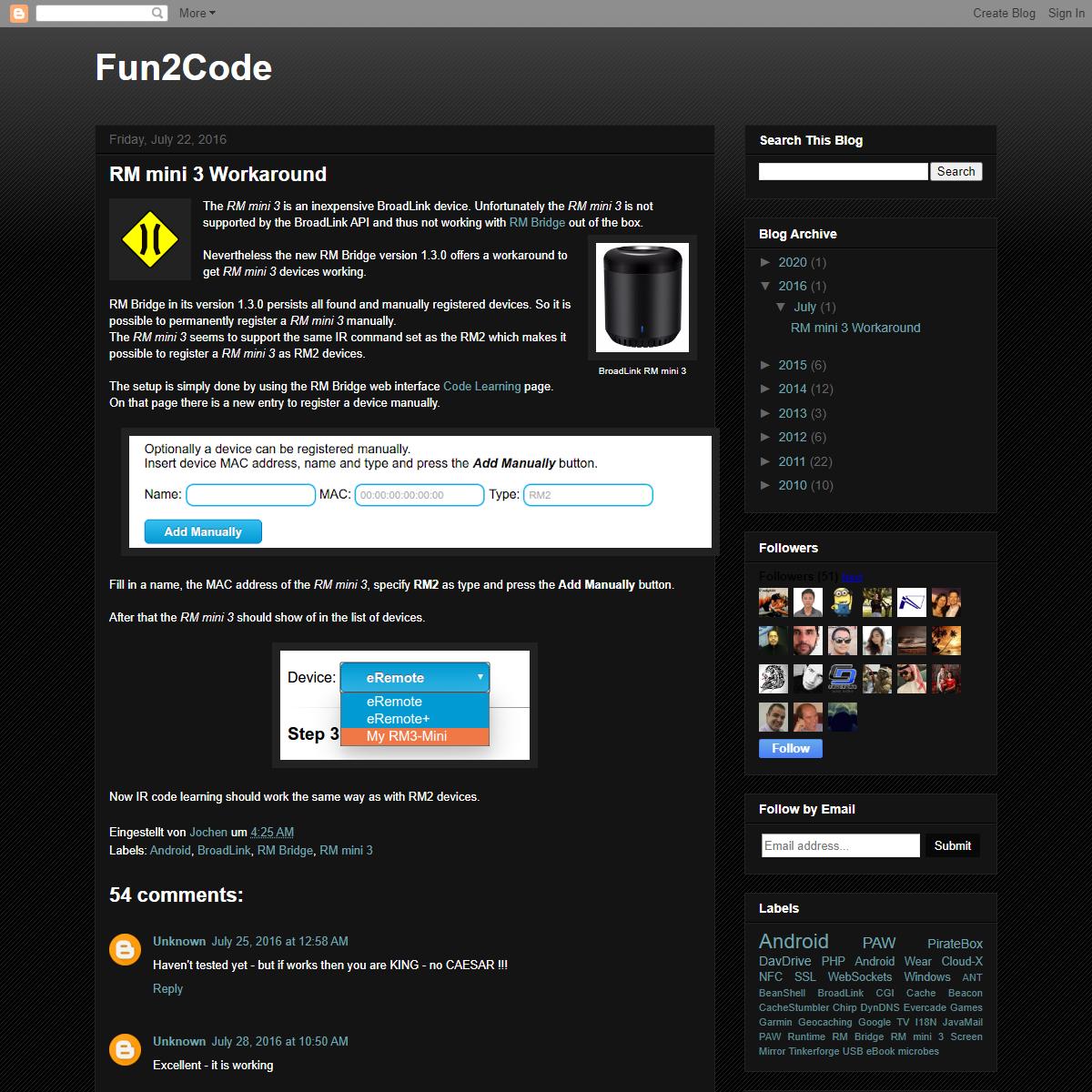 Fun2Code- RM mini 3 Workaround