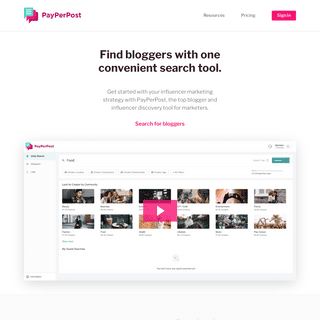 PayPerPost - The top blogger and influencer discovery tool for marketers.