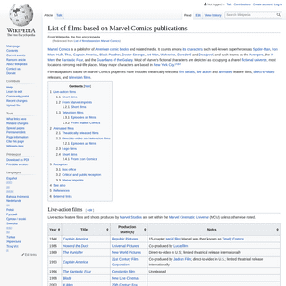 List of films based on Marvel Comics publications - Wikipedia