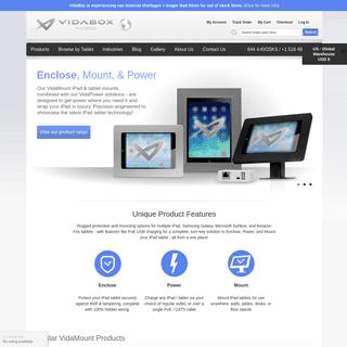 VidaBox iPad tablet enclosures, kiosks, stands & mounts w POE charging, & security options