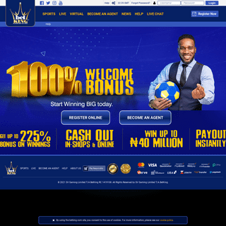 Best online sports and virtual betting website in Nigeria - BetKing - 100- Welcome Bonus