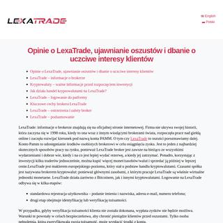 LexaTrade – kolejny nieuregulowany broker Forex na liście - Polski - LexaTrade