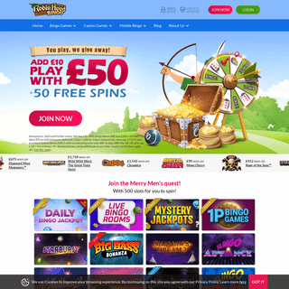 Welcome to Robin Hood Bingo! Deposit £10 & play with £50 + 50 spins
