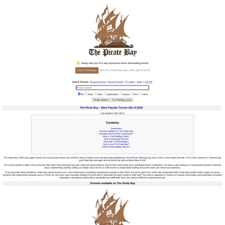 The Pirate Bay - The galaxy`s most resilient BitTorrent site – Download music, movies, games, software!
