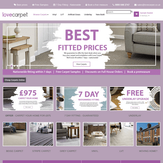 Best Fitted Carpet Prices - Free Measuring Service - Free Carpet Samples - Free Quote - Cheap Carpets Online - LoveCarpet.co.uk