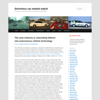 Driverless car market watch - Gearing up to save lives, reduce costs, resource consumption