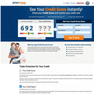 Get Your Credit Score - 100- Free, Easy and Online!