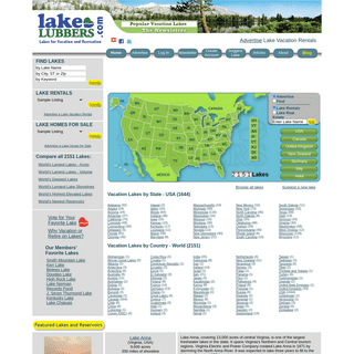 Lakes for Vacation and Recreation - Lake Rentals - Lakelubbers