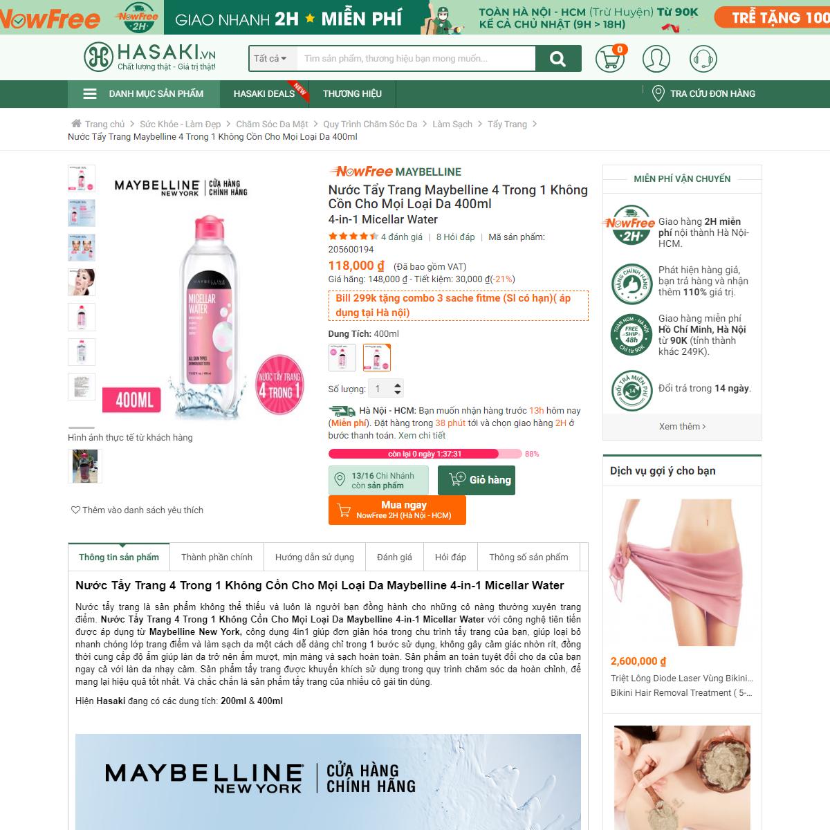 Nước Tẩy Trang Maybelline 4 Trong 1 Không Cồn Cho Mọi Loại Da 400ml - Hasaki.vn