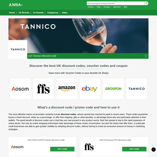 Discover the best Discount Codes, Coupon and Promo Codes at ANSA GB