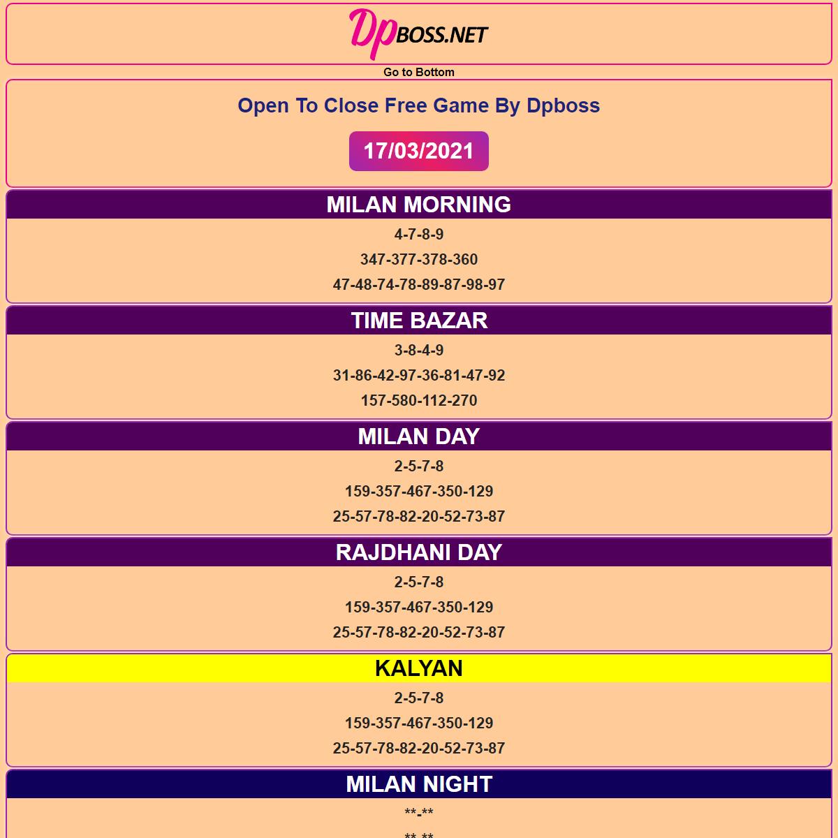 Dpboss Fix Matka Satta Number Final Ank Kalyan Fix Single Jodi Today