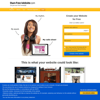 Create your Website for Free - 100- for Free - Own-Free-Website.com