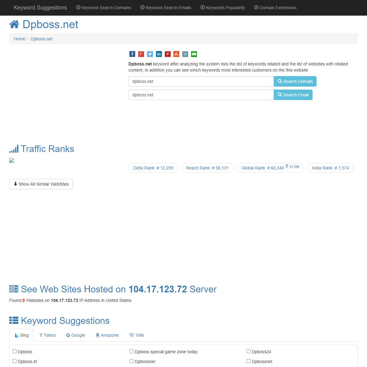 ™ -Dpboss.net- Keyword Found Websites Listing - Keyword Suggestions